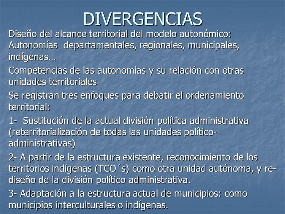 DIVERGENCIAS Diseño del alcance territorial del modelo autonómico: Autonomías departamentales, regionales, municipales, indígenas… Competencias de las