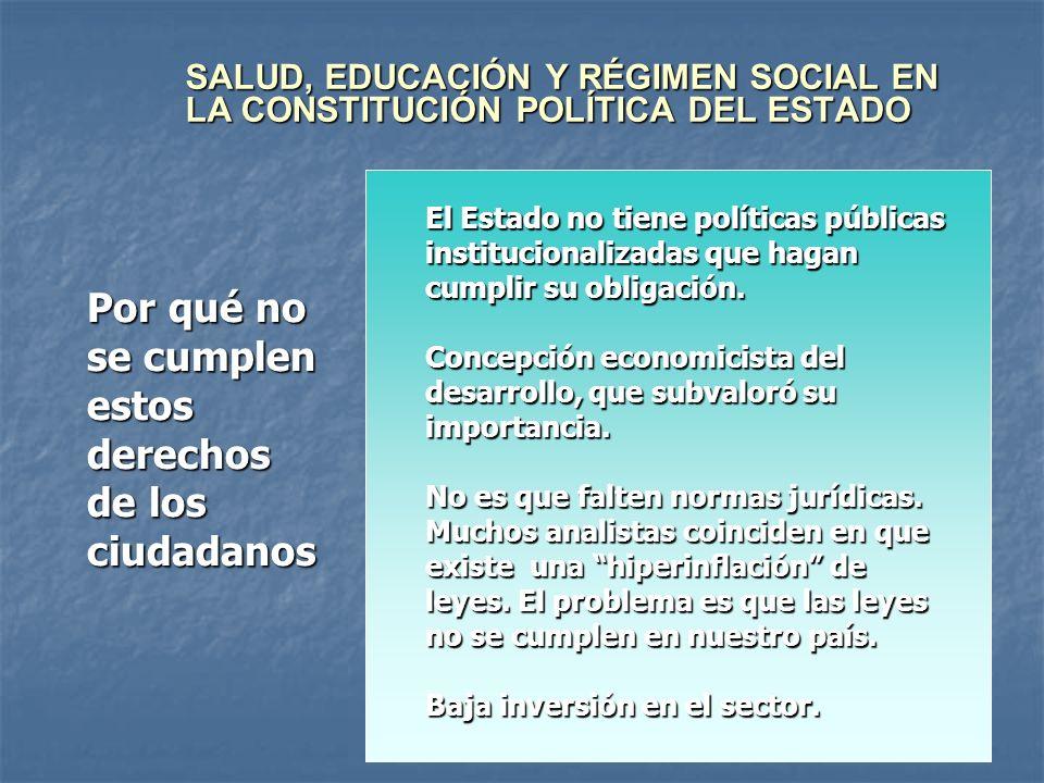 SALUD, EDUCACIÓN Y RÉGIMEN SOCIAL EN LA CONSTITUCIÓN POLÍTICA DEL ESTADO Por qué no se cumplen estos derechos de los ciudadanos El Estado no tiene pol