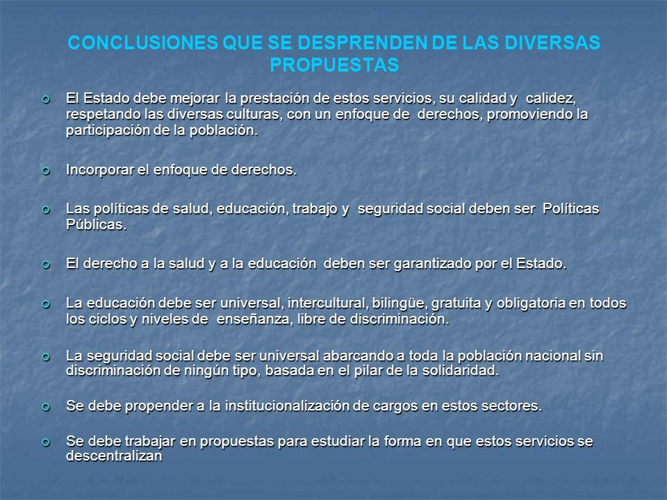 CONCLUSIONES QUE SE DESPRENDEN DE LAS DIVERSAS PROPUESTAS El Estado debe mejorar la prestación de estos servicios, su calidad y calidez, respetando la