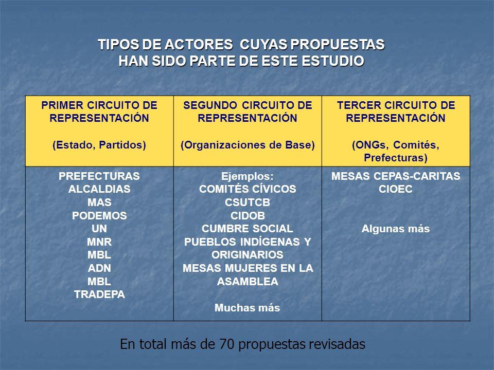 PRIMER CIRCUITO DE REPRESENTACIÓN (Estado, Partidos) SEGUNDO CIRCUITO DE REPRESENTACIÓN (Organizaciones de Base) TERCER CIRCUITO DE REPRESENTACIÓN (ON