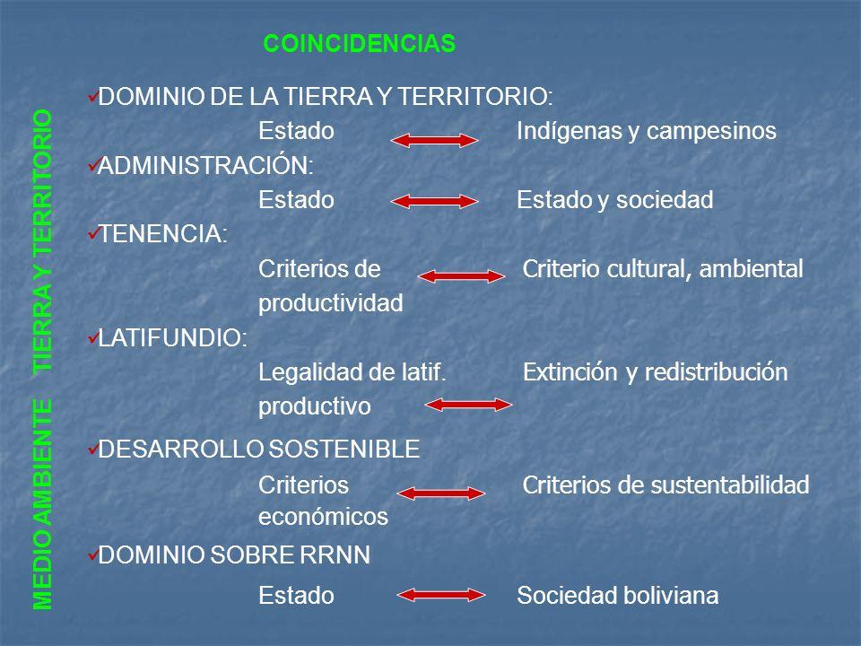 DOMINIO DE LA TIERRA Y TERRITORIO: EstadoIndígenas y campesinos ADMINISTRACIÓN: Estado Estado y sociedad TENENCIA: Criterios de Criterio cultural, amb