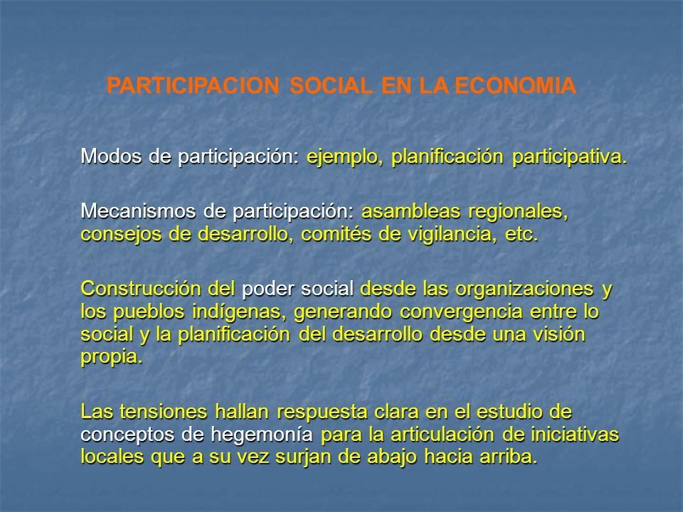 Modos de participación: ejemplo, planificación participativa. Mecanismos de participación: asambleas regionales, consejos de desarrollo, comités de vi