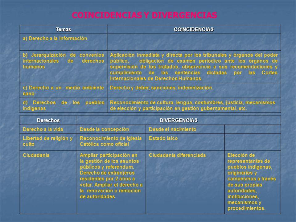 TemasCOINCIDENCIAS a) Derecho a la información b) Jerarquización de convenios internacionales de derechos humanos Aplicación inmediata y directa por l