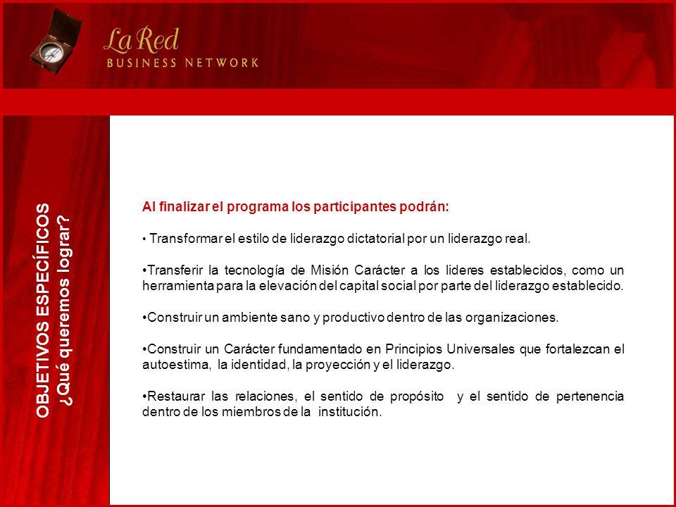 Al finalizar el programa los participantes podrán: Transformar el estilo de liderazgo dictatorial por un liderazgo real. Transferir la tecnología de M