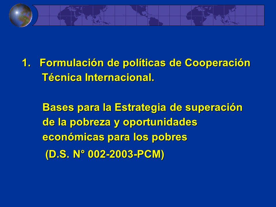 1. Formulación de políticas de Cooperación Técnica Internacional. Bases para la Estrategia de superación de la pobreza y oportunidades económicas para