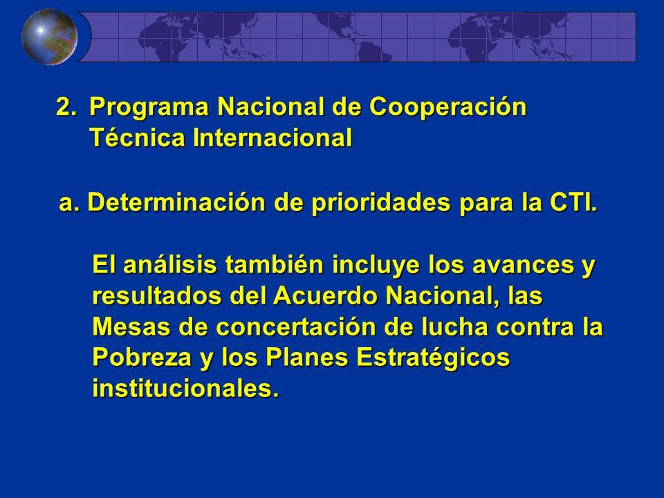 2.Programa Nacional de Cooperación Técnica Internacional a. Determinación de prioridades para la CTI. El análisis también incluye los avances y result
