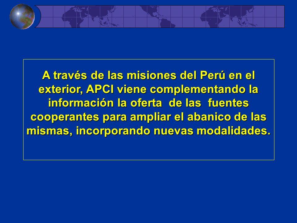 A través de las misiones del Perú en el exterior, APCI viene complementando la información la oferta de las fuentes cooperantes para ampliar el abanic