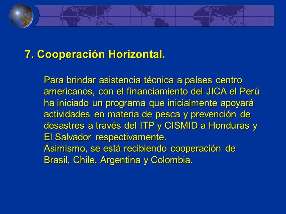 7. Cooperación Horizontal. Para brindar asistencia técnica a países centro americanos, con el financiamiento del JICA el Perú ha iniciado un programa