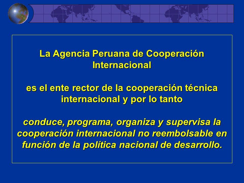 La Agencia Peruana de Cooperación Internacional es el ente rector de la cooperación técnica internacional y por lo tanto conduce, programa, organiza y supervisa la cooperación internacional no reembolsable en función de la política nacional de desarrollo.