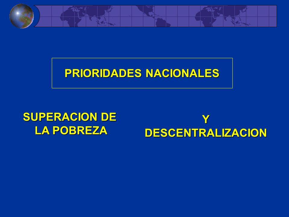 YDESCENTRALIZACION PRIORIDADES NACIONALES SUPERACION DE LA POBREZA