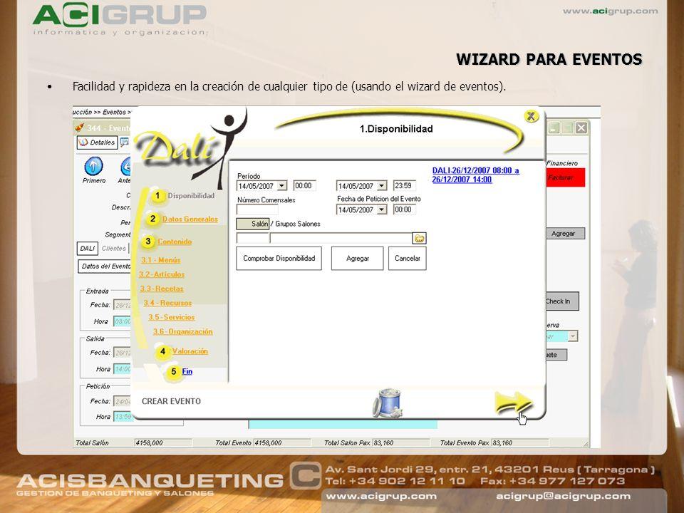 WIZARD PARA EVENTOS Facilidad y rapideza en la creación de cualquier tipo de (usando el wizard de eventos).