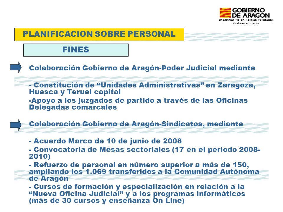Departamento de Política Territorial, Justicia e Interior Colaboración Gobierno de Aragón-Poder Judicial mediante - Constitución de Unidades Administrativas en Zaragoza, Huesca y Teruel capital -Apoyo a los juzgados de partido a través de las Oficinas Delegadas comarcales Colaboración Gobierno de Aragón-Sindicatos, mediante - Acuerdo Marco de 10 de junio de 2008 - Convocatoria de Mesas sectoriales (17 en el período 2008- 2010) - Refuerzo de personal en número superior a más de 150, ampliando los 1.069 transferidos a la Comunidad Autónoma de Aragón - Cursos de formación y especialización en relación a la Nueva Oficina Judicial y a los programas informáticos (más de 30 cursos y enseñanza On Line) PLANIFICACION SOBRE PERSONAL FINES