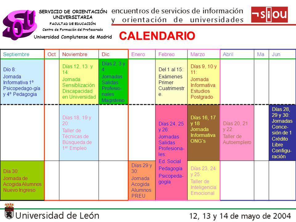 SERVICIO DE ORIENTACIÓN UNIVERSITARIA FACULTAD DE EDUCACIÓN Centro de Formación del Profesorado Universidad Complutense de Madrid CALENDARIO SeptiembreOctNoviembreDicEneroFebreoMarzoAbrilMaJun Dío 8: Jornada Informativa 1º Psicopedago-gía y 4º Pedagogia Días 12, 13 y 14: Jornada Sensiblización Discapacidad en Universidad Días 2, 3 y 4: Jornadas Salidas Profesio- nales Magisterio Del 1 al 15: Exámenes Primer Cuatrimestr e.