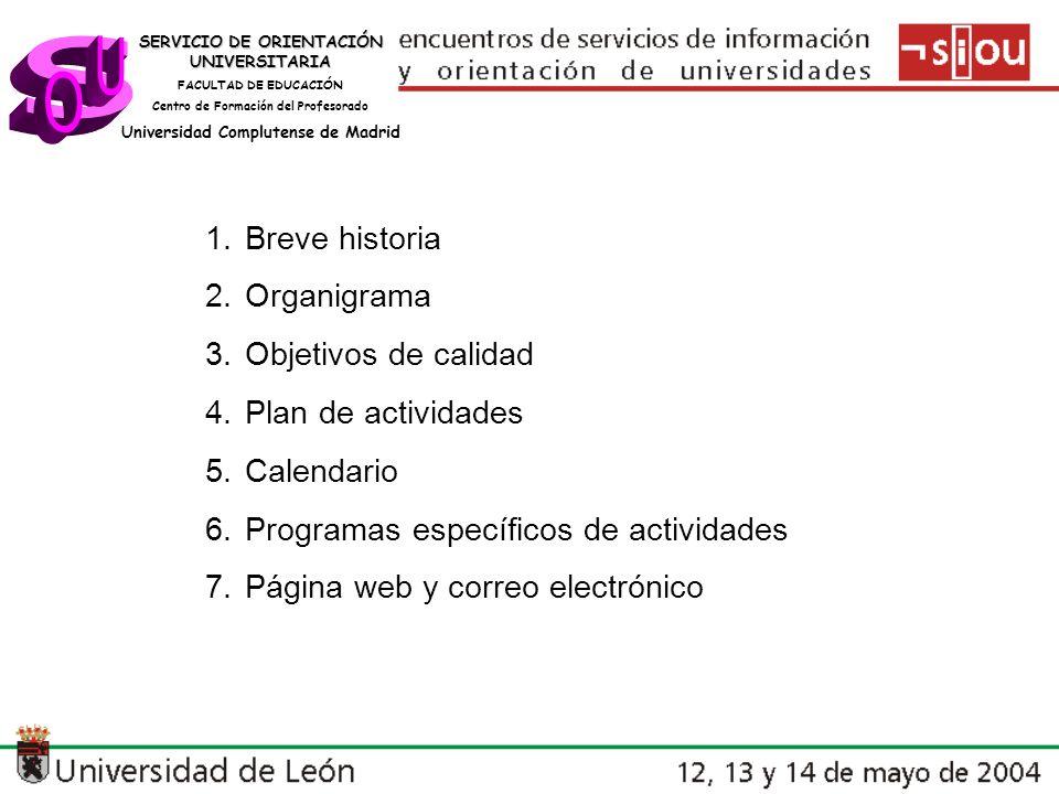 SERVICIO DE ORIENTACIÓN UNIVERSITARIA FACULTAD DE EDUCACIÓN Centro de Formación del Profesorado Universidad Complutense de Madrid HISTORIA Década de los 80: Se crea el Servicio de Orientación Universitaria en la Facultad de Ciencias de la Educación Años 1995-1997: Dependencia del Departamento de MIDE.