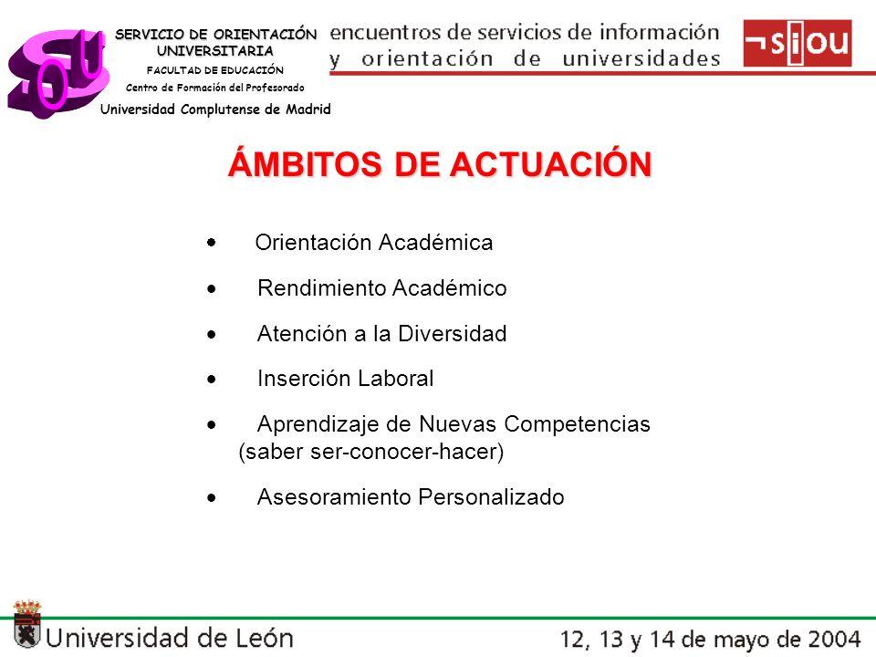SERVICIO DE ORIENTACIÓN UNIVERSITARIA FACULTAD DE EDUCACIÓN Centro de Formación del Profesorado Universidad Complutense de Madrid