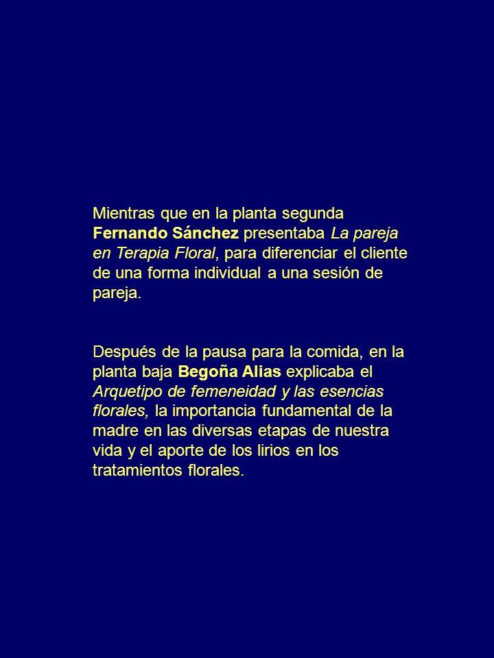 Mientras que en la planta segunda Fernando Sánchez presentaba La pareja en Terapia Floral, para diferenciar el cliente de una forma individual a una s