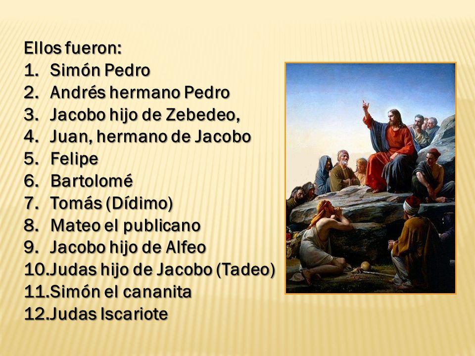 Ellos fueron: 1.Simón Pedro 2.Andrés hermano Pedro 3.Jacobo hijo de Zebedeo, 4.Juan, hermano de Jacobo 5.Felipe 6.Bartolomé 7.Tomás (Dídimo) 8.Mateo e