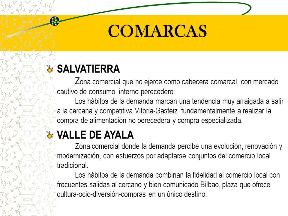 COMARCAS SALVATIERRA Z ona comercial que no ejerce como cabecera comarcal, con mercado cautivo de consumo interno perecedero.