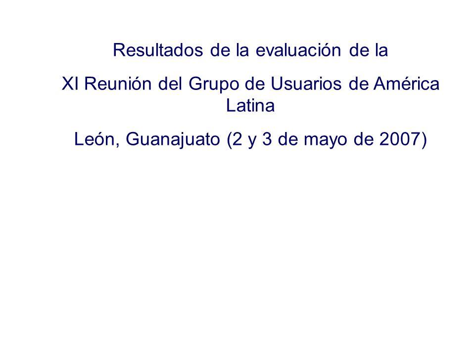 Resultados de la evaluación de la XI Reunión del Grupo de Usuarios de América Latina León, Guanajuato (2 y 3 de mayo de 2007)
