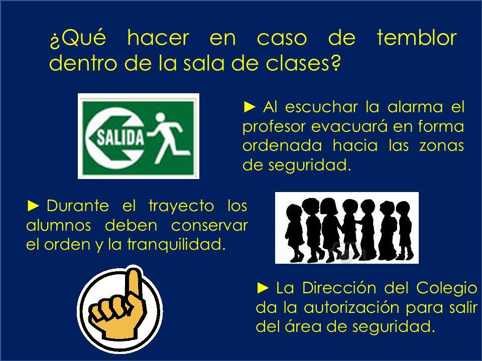 ¿Qué hacer en caso de temblor dentro de la sala de clases.