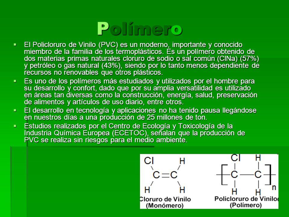Polímero Polímero El Policloruro de Vinilo (PVC) es un moderno, importante y conocido miembro de la familia de los termoplásticos. Es un polímero obte