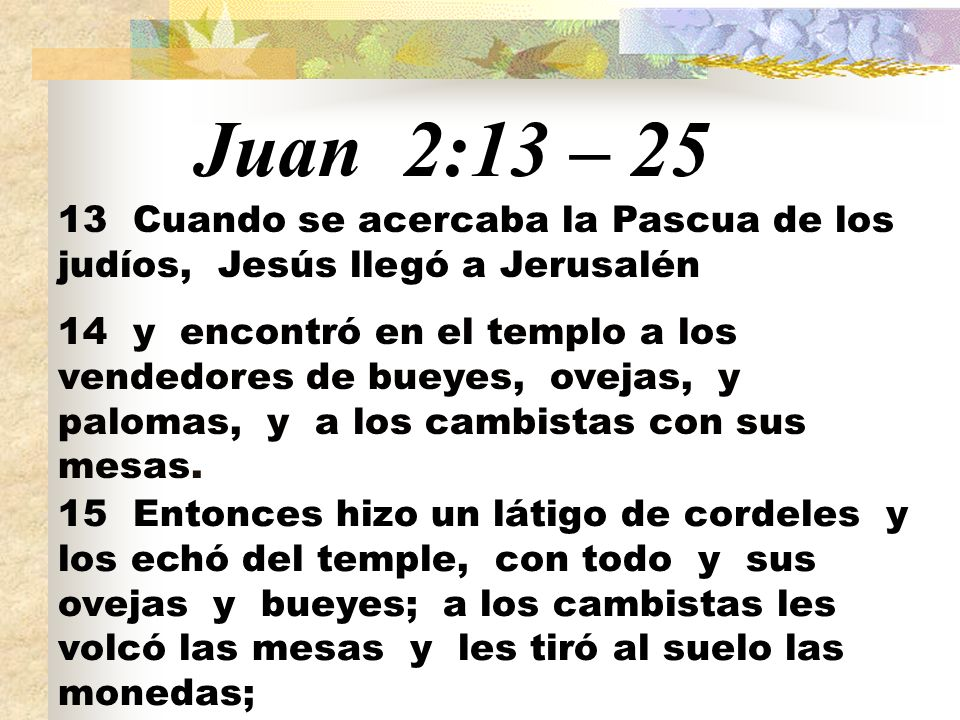Juan 2:13 – 25 13 Cuando se acercaba la Pascua de los judíos, Jesús llegó a Jerusalén 14 y encontró en el templo a los vendedores de bueyes, ovejas, y