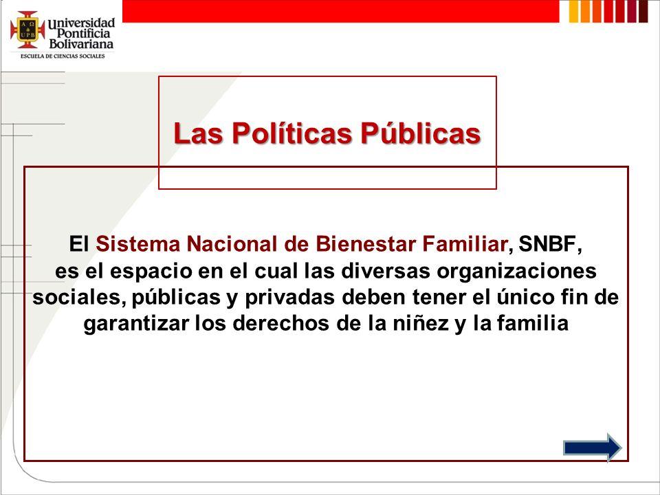 El Sistema Nacional de Bienestar Familiar, SNBF, es el espacio en el cual las diversas organizaciones sociales, públicas y privadas deben tener el úni