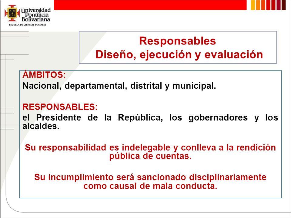 Responsables Diseño, ejecución y evaluación ÁMBITOS: Nacional, departamental, distrital y municipal. RESPONSABLES: el Presidente de la República, los