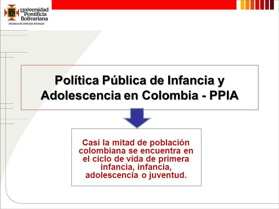 Política Pública de Infancia y Adolescencia en Colombia - PPIA Casi la mitad de población colombiana se encuentra en el ciclo de vida de primera infan