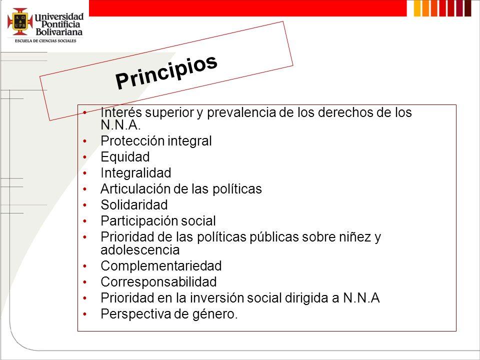 Principios Interés superior y prevalencia de los derechos de los N.N.A. Protección integral Equidad Integralidad Articulación de las políticas Solidar