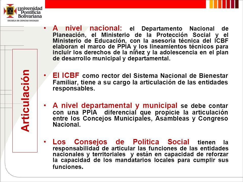 Articulación A nivel nacional: el Departamento Nacional de Planeación, el Ministerio de la Protección Social y el Ministerio de Educación, con la ases