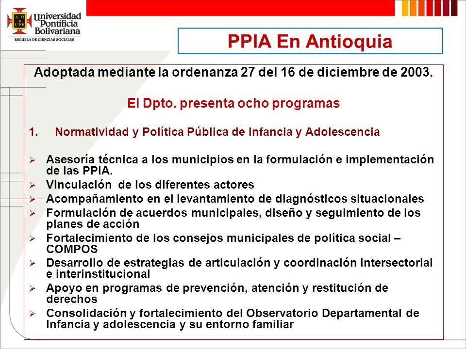 PPIA En Antioquia Adoptada mediante la ordenanza 27 del 16 de diciembre de 2003. El Dpto. presenta ocho programas 1.Normatividad y Política Pública de