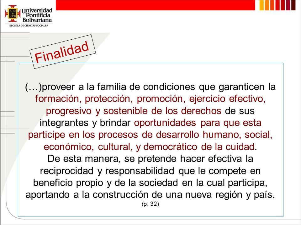 (…)proveer a la familia de condiciones que garanticen la formación, protección, promoción, ejercicio efectivo, progresivo y sostenible de los derechos