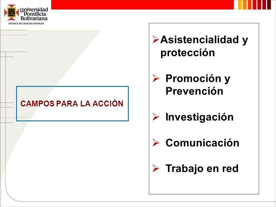 CAMPOS PARA LA ACCIÓN Asistencialidad y protección Promoción y Prevención Investigación Comunicación Trabajo en red