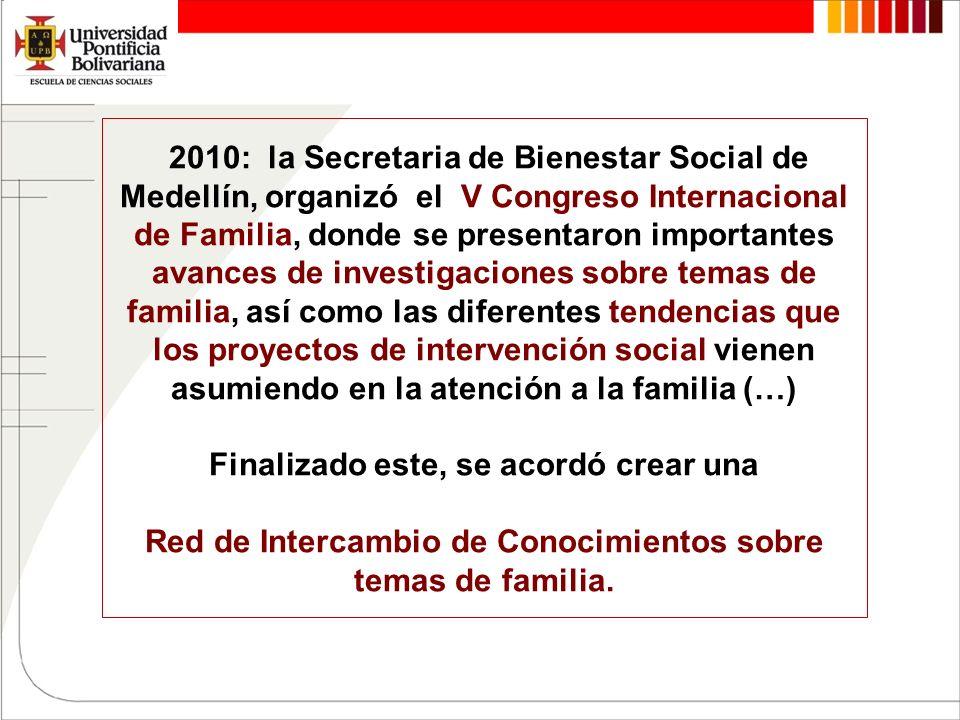 2010: la Secretaria de Bienestar Social de Medellín, organizó el V Congreso Internacional de Familia, donde se presentaron importantes avances de inve