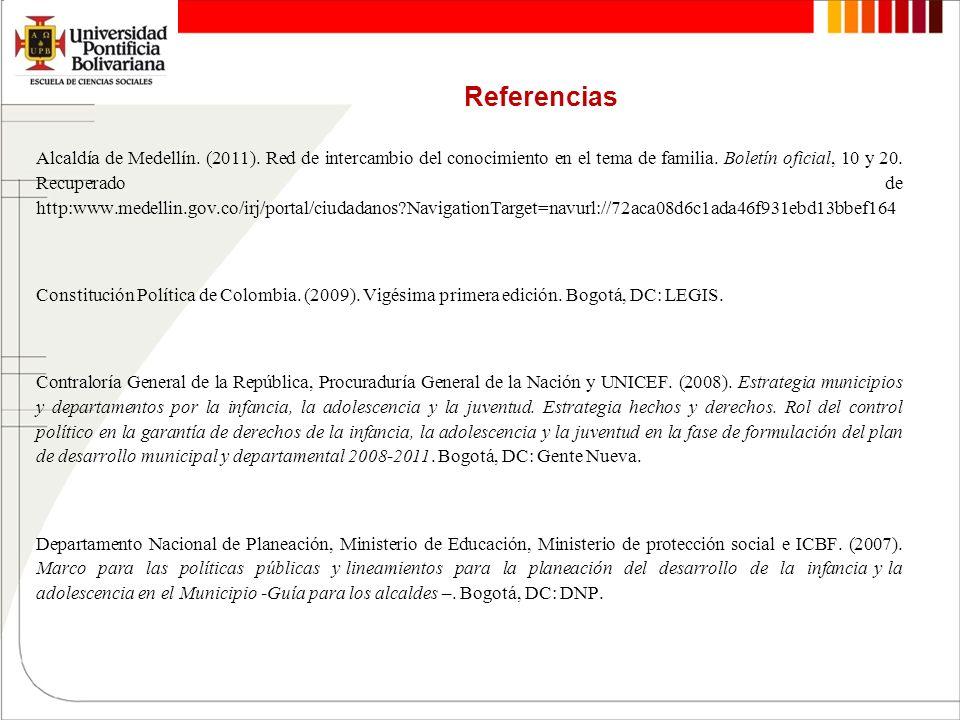 Referencias Alcaldía de Medellín. (2011). Red de intercambio del conocimiento en el tema de familia. Boletín oficial, 10 y 20. Recuperado de http:www.