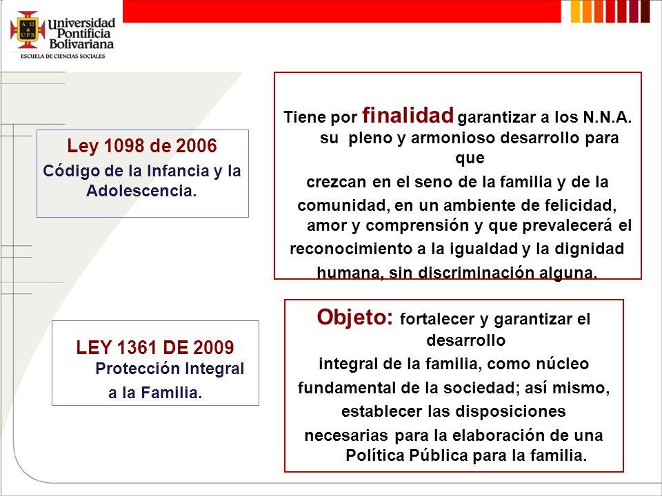 Ley 1098 de 2006 Código de la Infancia y la Adolescencia. Tiene por finalidad garantizar a los N.N.A. su pleno y armonioso desarrollo para que crezcan
