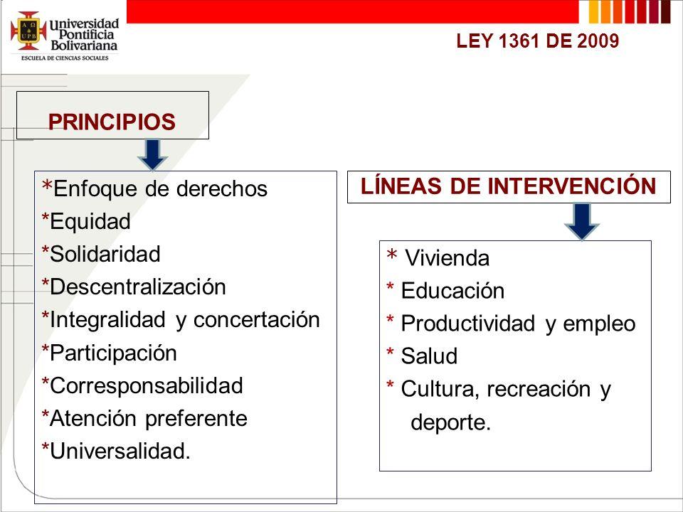 PRINCIPIOS * Enfoque de derechos *Equidad *Solidaridad *Descentralización *Integralidad y concertación *Participación *Corresponsabilidad *Atención pr