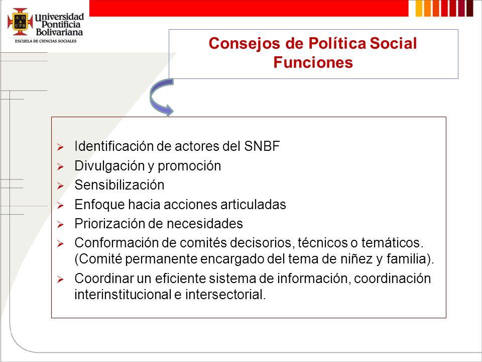 Consejos de Política Social Funciones Identificación de actores del SNBF Divulgación y promoción Sensibilización Enfoque hacia acciones articuladas Pr