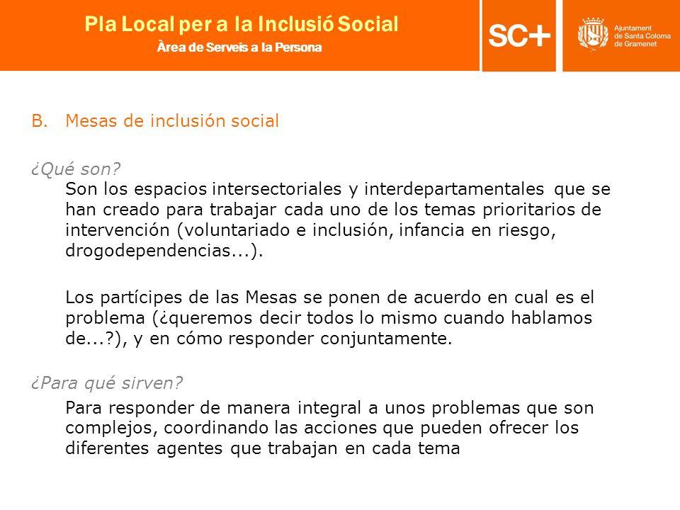 16 Pla Local per a la Inclusió Social Àrea de Serveis a la Persona B.Mesas de inclusión social ¿Qué son? Son los espacios intersectoriales y interdepa