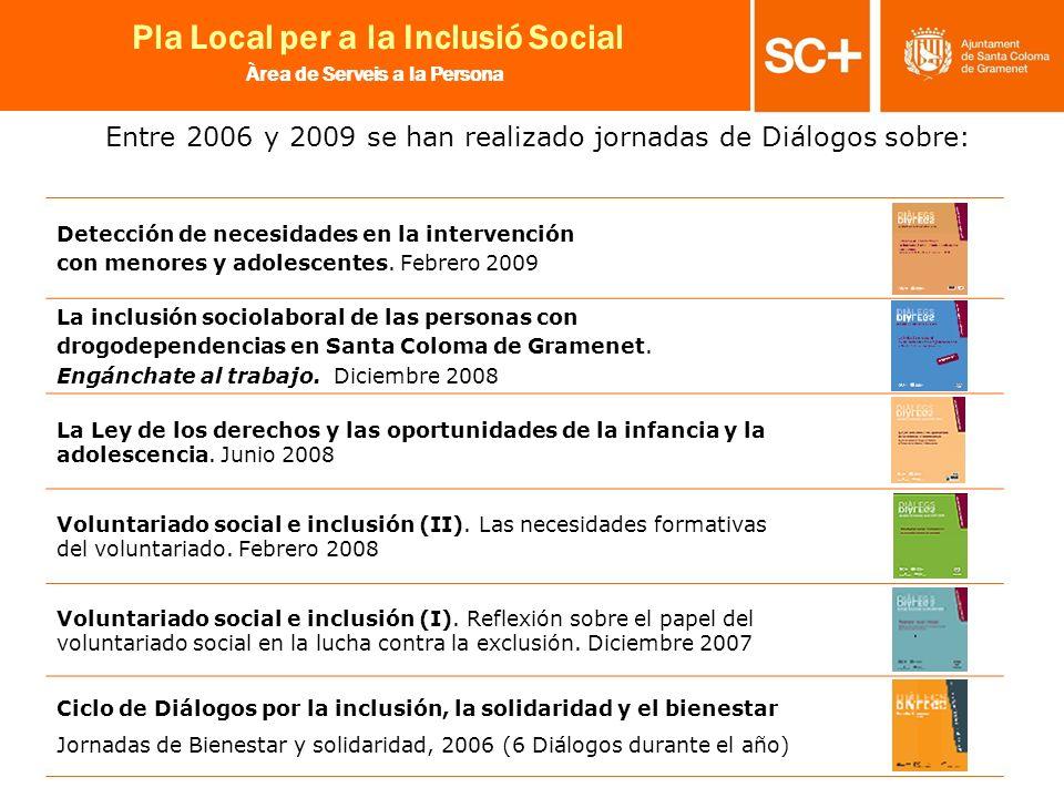 20 Pla Local per a la Inclusió Social Àrea de Serveis a la Persona Entre 2006 y 2009 se han realizado jornadas de Diálogos sobre: Detección de necesid