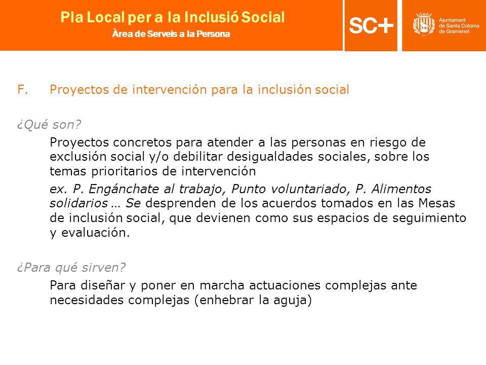 21 Pla Local per a la Inclusió Social Àrea de Serveis a la Persona F.Proyectos de intervención para la inclusión social ¿Qué son? Proyectos concretos