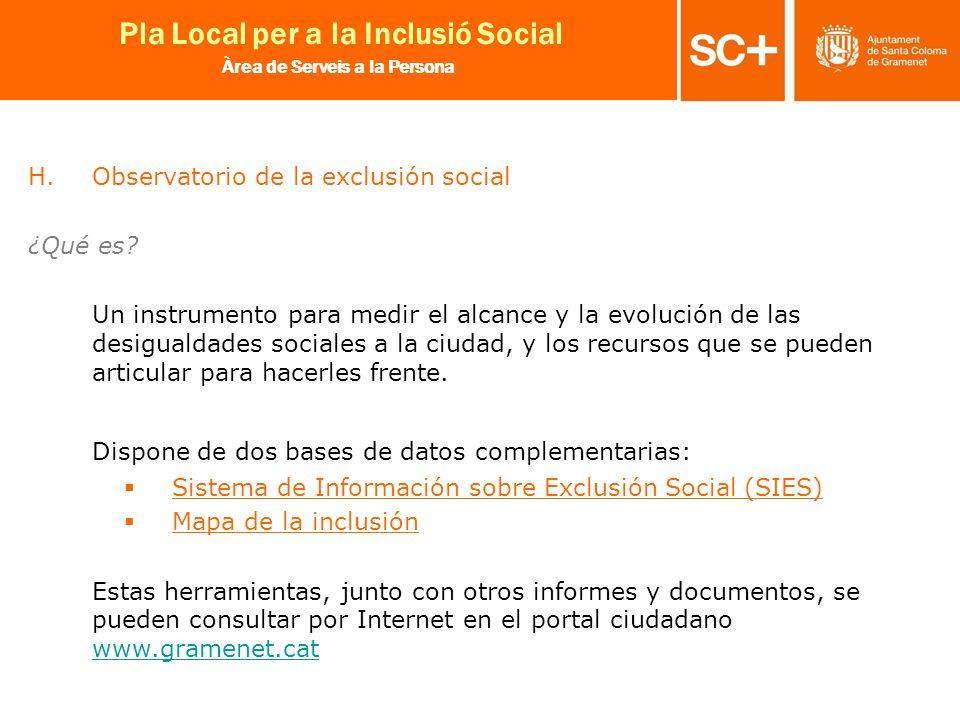 23 Pla Local per a la Inclusió Social Àrea de Serveis a la Persona H.Observatorio de la exclusión social ¿Qué es? Un instrumento para medir el alcance