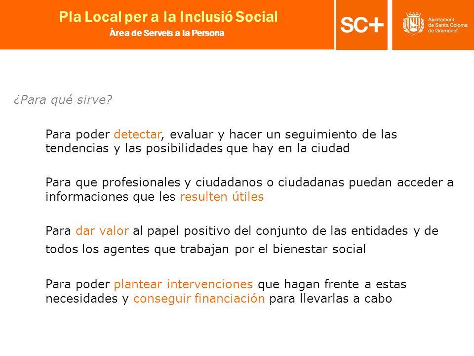 24 Pla Local per a la Inclusió Social Àrea de Serveis a la Persona ¿Para qué sirve? Para poder detectar, evaluar y hacer un seguimiento de las tendenc