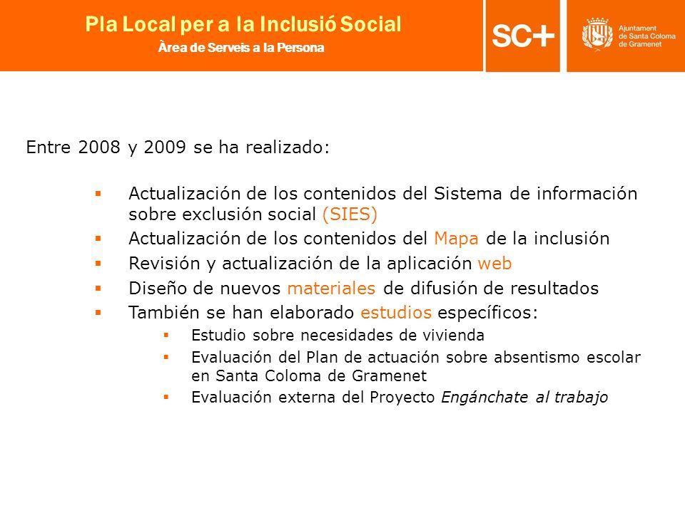 25 Pla Local per a la Inclusió Social Àrea de Serveis a la Persona Entre 2008 y 2009 se ha realizado: Actualización de los contenidos del Sistema de i