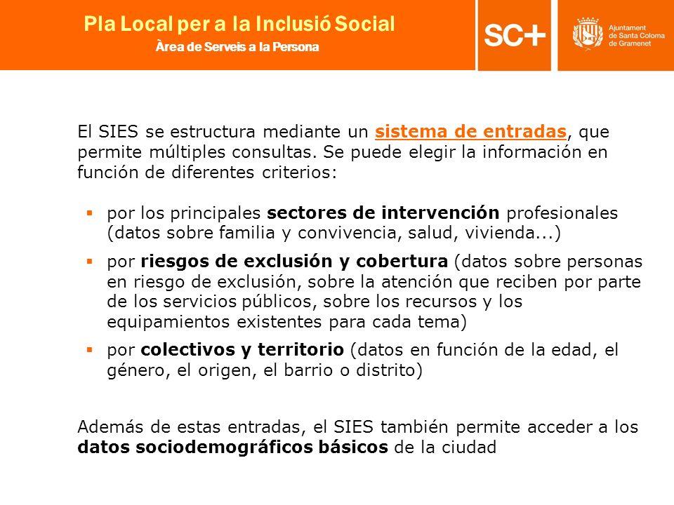 27 Pla Local per a la Inclusió Social Àrea de Serveis a la Persona El SIES se estructura mediante un sistema de entradas, que permite múltiples consul