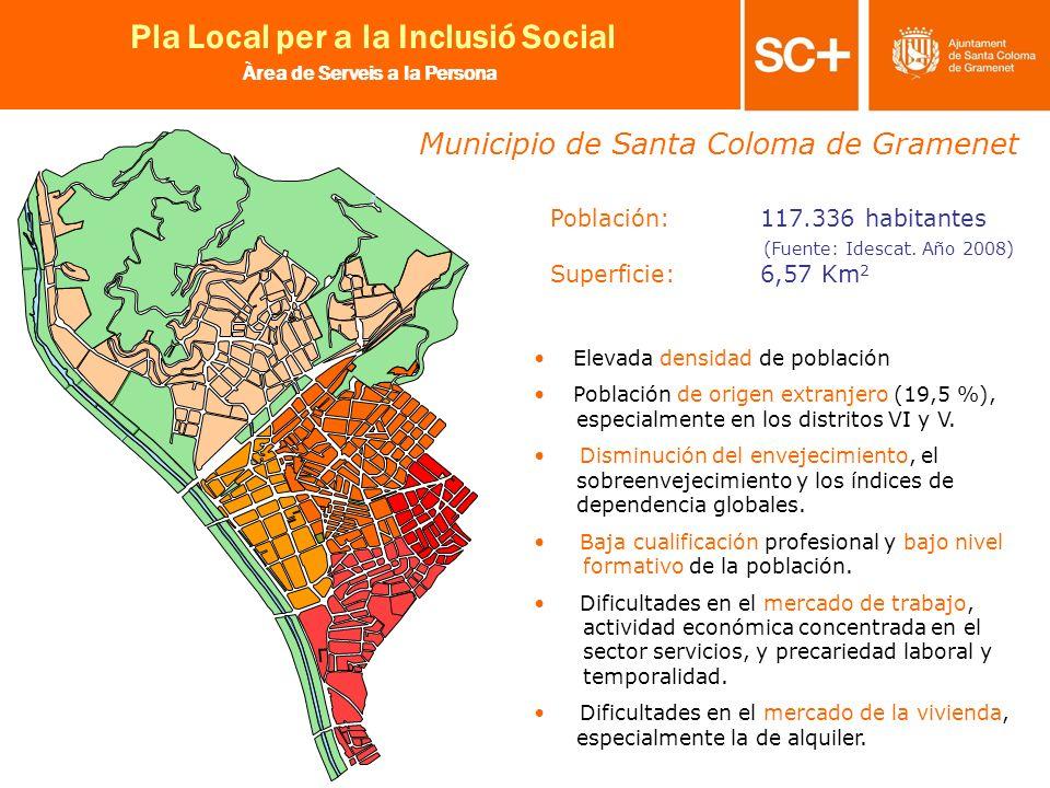 4 Pla Local per a la Inclusió Social Àrea de Serveis a la Persona Población: 117.336 habitantes (Fuente: Idescat. Año 2008) Superficie: 6,57 Km 2 Elev