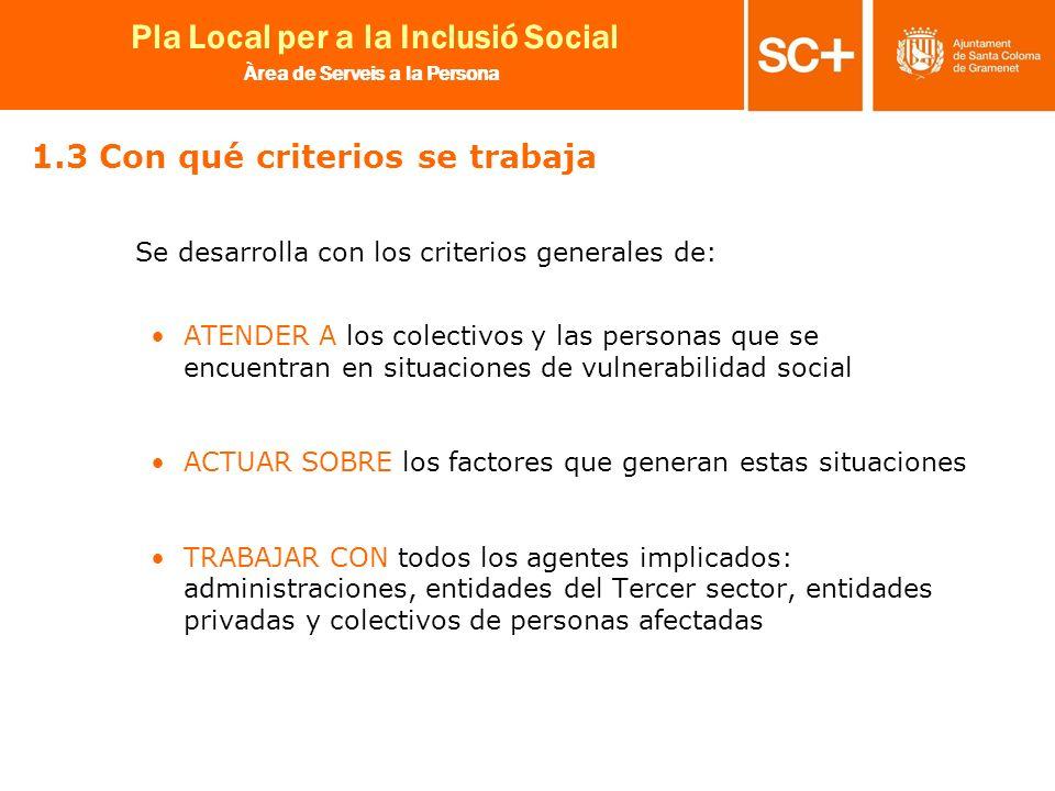 8 Pla Local per a la Inclusió Social Àrea de Serveis a la Persona 1.3 Con qué criterios se trabaja Se desarrolla con los criterios generales de: ATEND