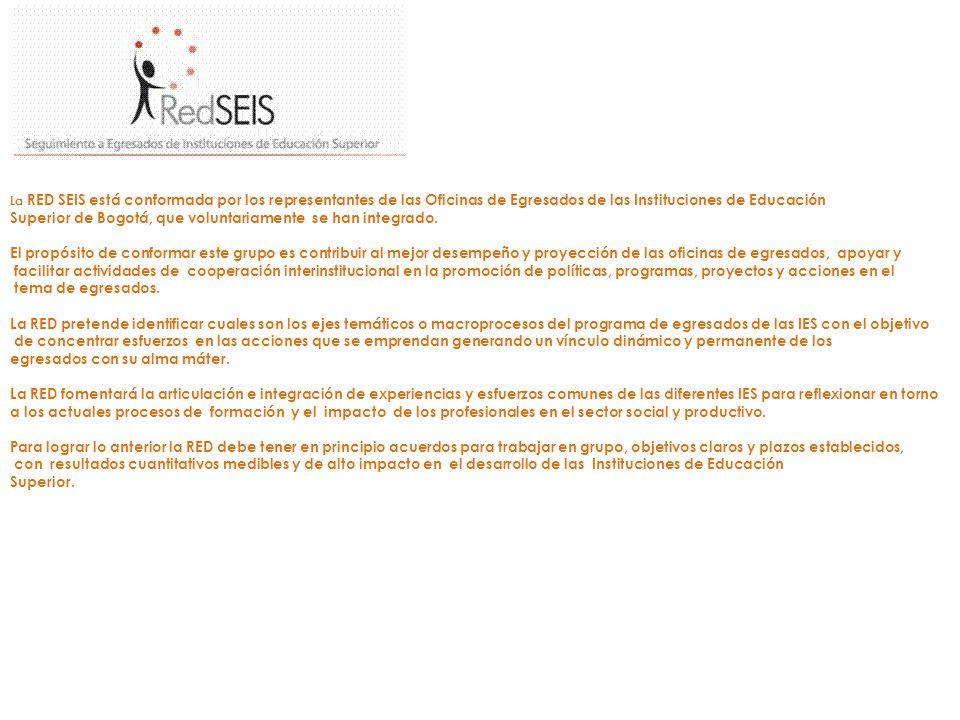La RED SEIS está conformada por los representantes de las Oficinas de Egresados de las Instituciones de Educación Superior de Bogotá, que voluntariame