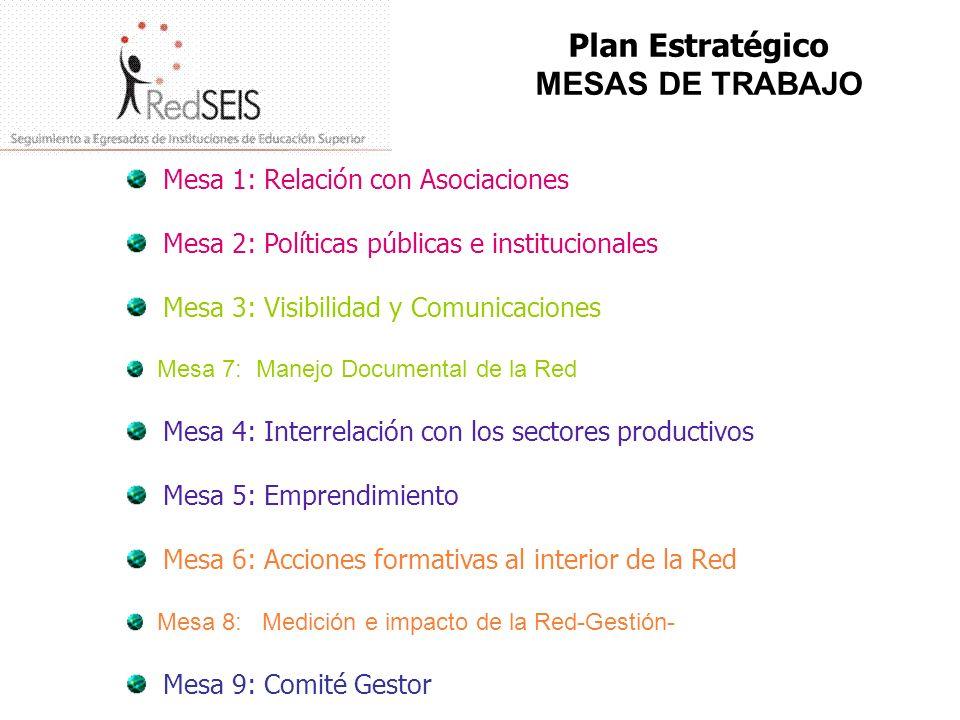 Plan Estratégico MESAS DE TRABAJO Mesa 1: Relación con Asociaciones Mesa 2: Políticas públicas e institucionales Mesa 3: Visibilidad y Comunicaciones
